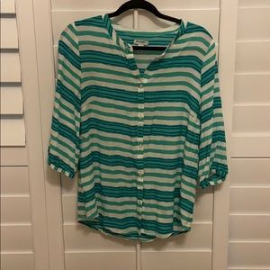 Old Navy- Teal, blue and white button up blouse.